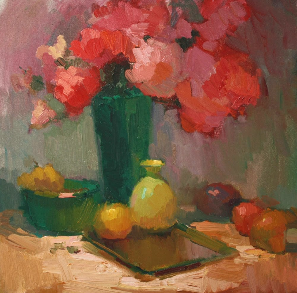 """Roses in Green Vase"" original fine art by Kathryn Townsend"