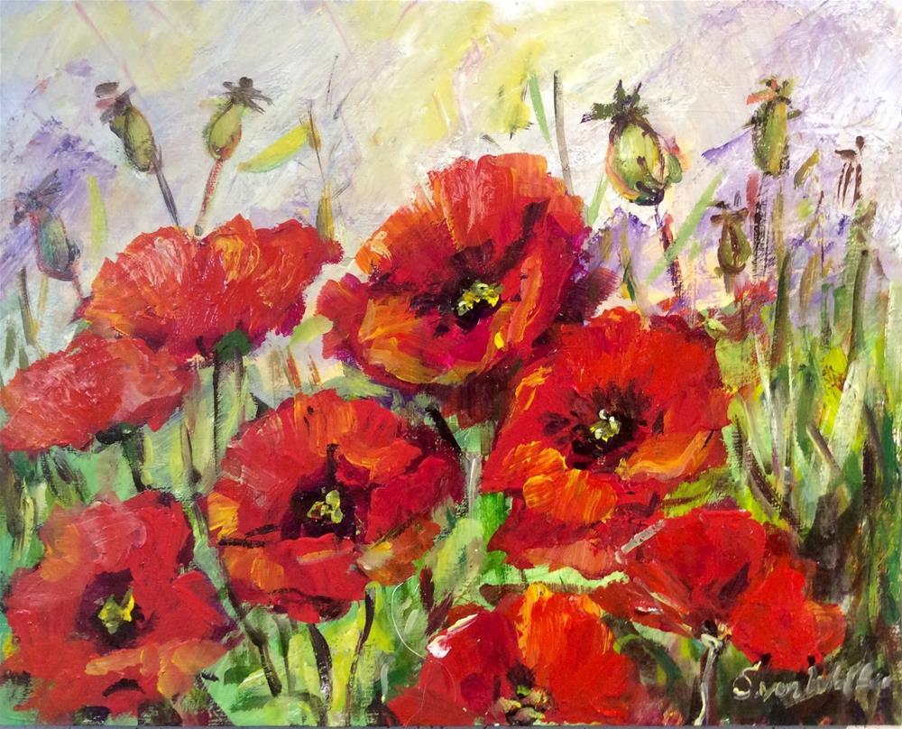 """""""Poppies dance"""" original fine art by Sonia von Walter"""