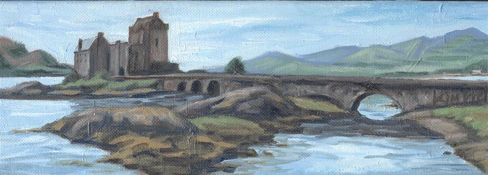 """Eilean Donan Castle #3, Scotland, miniature"" original fine art by Kim Victoria"