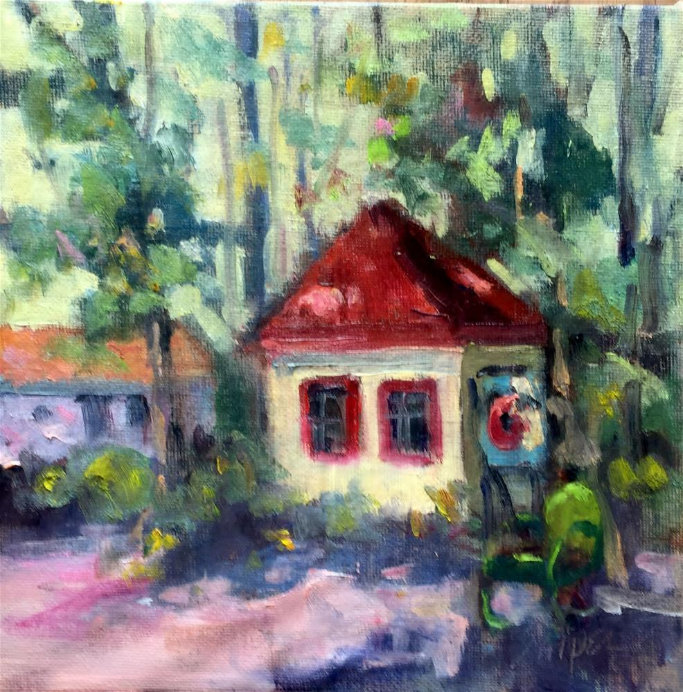 """""""The Sign Says Farmer's Market"""" original fine art by Connie Snipes"""