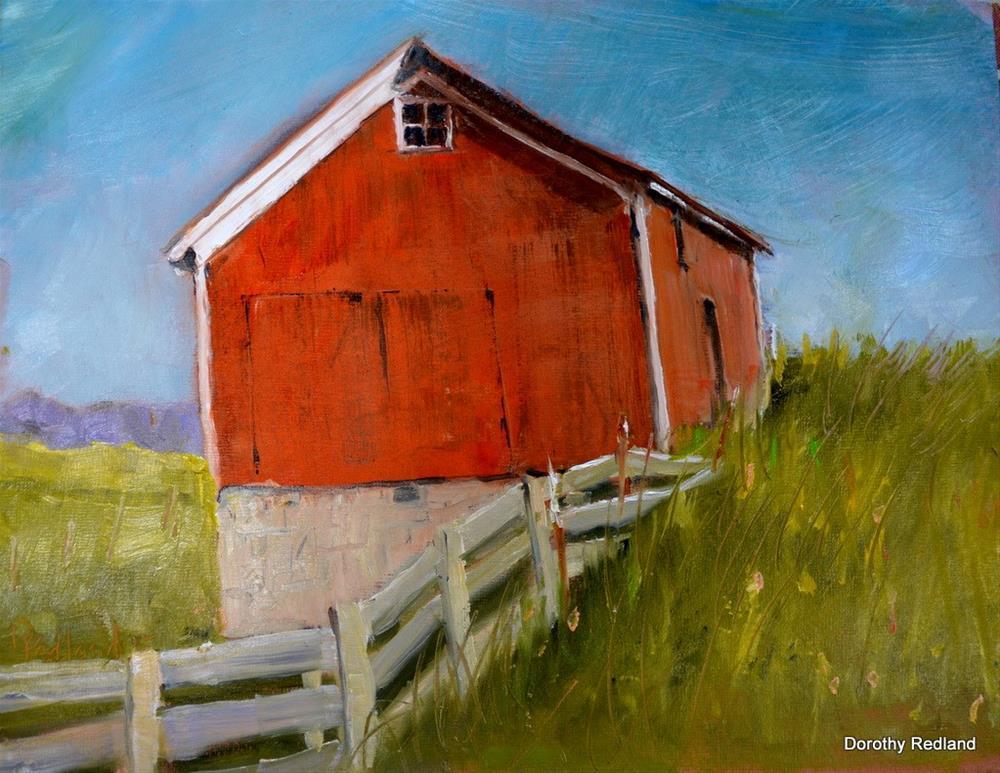 """RED bARN AT THE TA"" original fine art by Dorothy Redland"