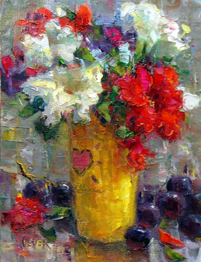 """""""Petunias in a Costa Rica Mug."""" original fine art by Julie Ford Oliver"""