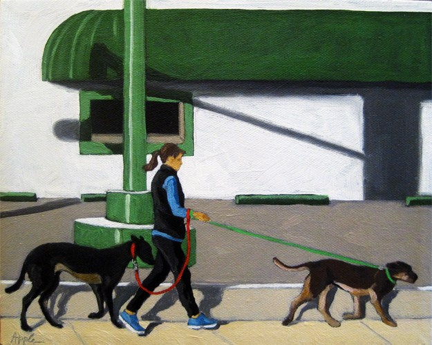 """Walking the Dogs - woman on city street"" original fine art by Linda Apple"