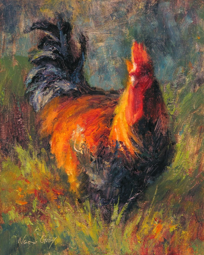 """""""Leo the Rooster No. 3"""" original fine art by Naomi Gray"""