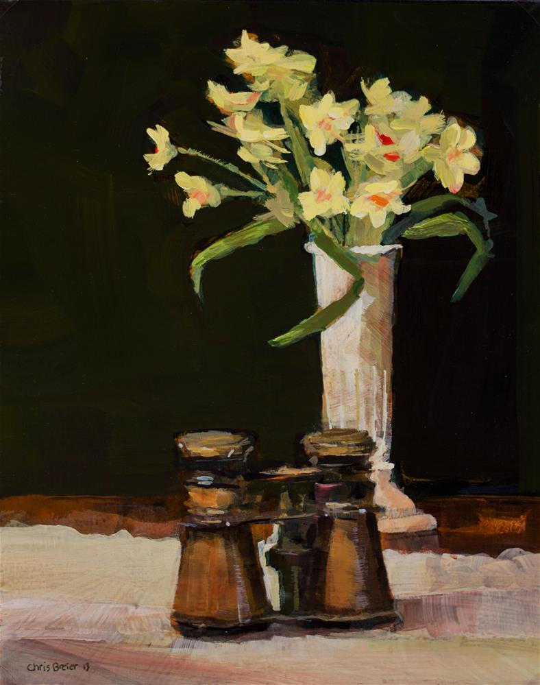 """Opera Glasses and Flowers"" original fine art by Chris Breier"
