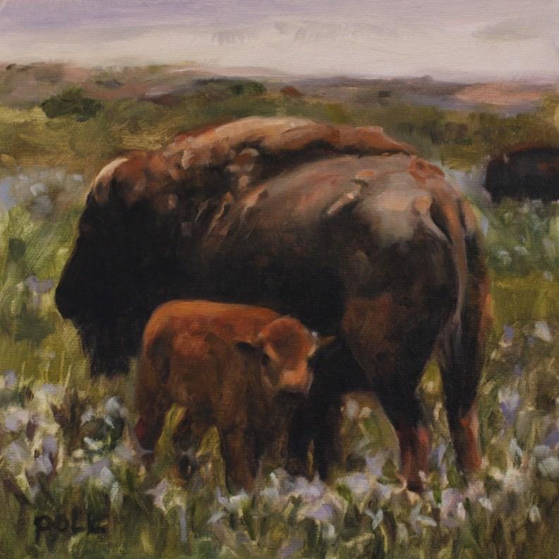 """""""Bison Spring (framed)"""" original fine art by Pamela Poll"""