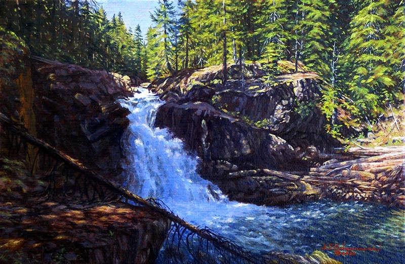 """""""The Deep Shadows of Afternoon on Siver Falls"""" original fine art by Steven Thor Johanneson"""