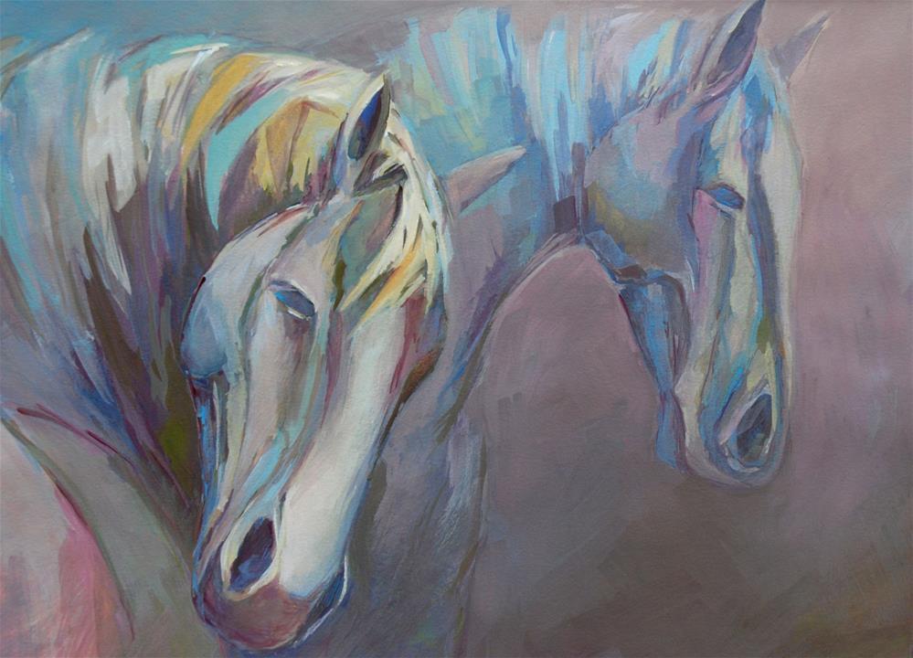 """""""Two horses"""" original fine art by Olga Touboltseva-Lefort"""