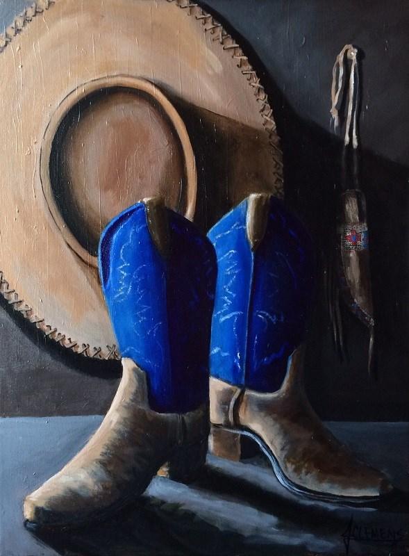 """""""Blue Boots"""" original fine art by Jolynn Clemens"""
