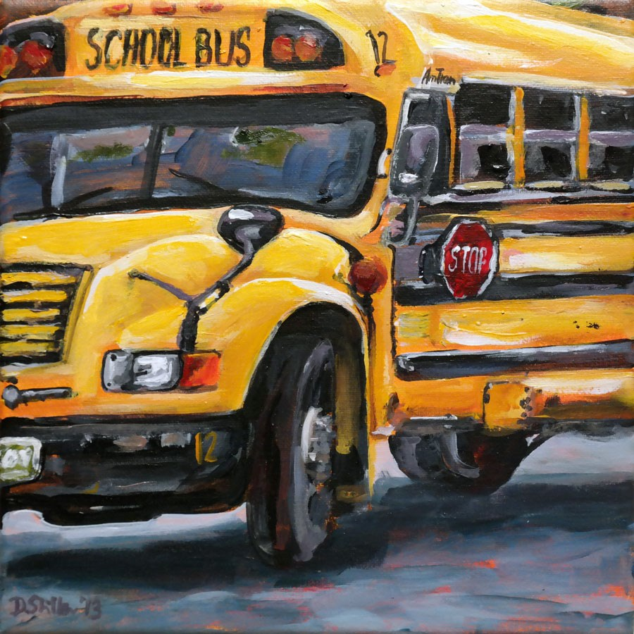 """0825 Schoolbus"" original fine art by Dietmar Stiller"
