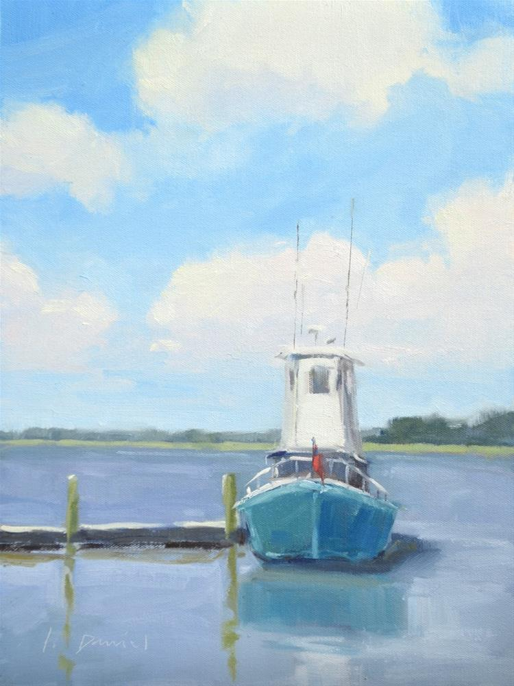 """River Boat - Georgia Coast"" original fine art by Laurel Daniel"