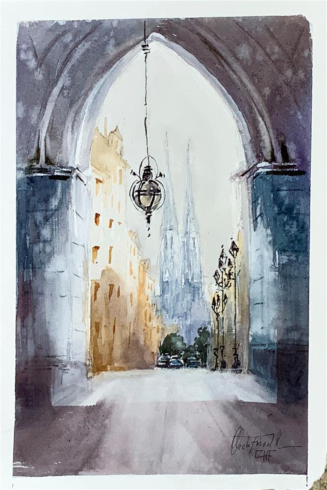 """""""Votivkirche Vienna"""" original fine art by Christa Friedl"""