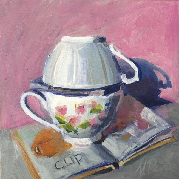 """Cup and Book"" original fine art by Mary Pargas"