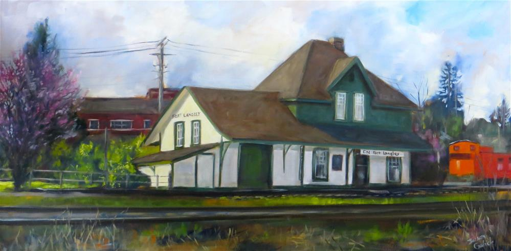 """""""Fort Langley 100 Year Old Train Station"""" original fine art by Susan Galick"""