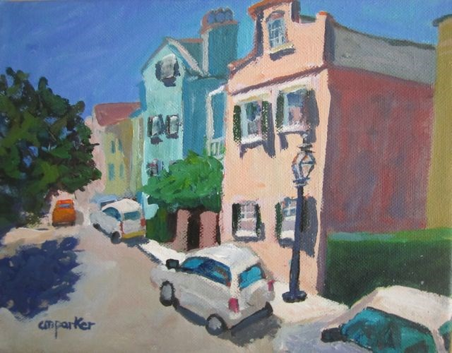 """Streetscape Charleston, SC"" original fine art by Christine Parker"