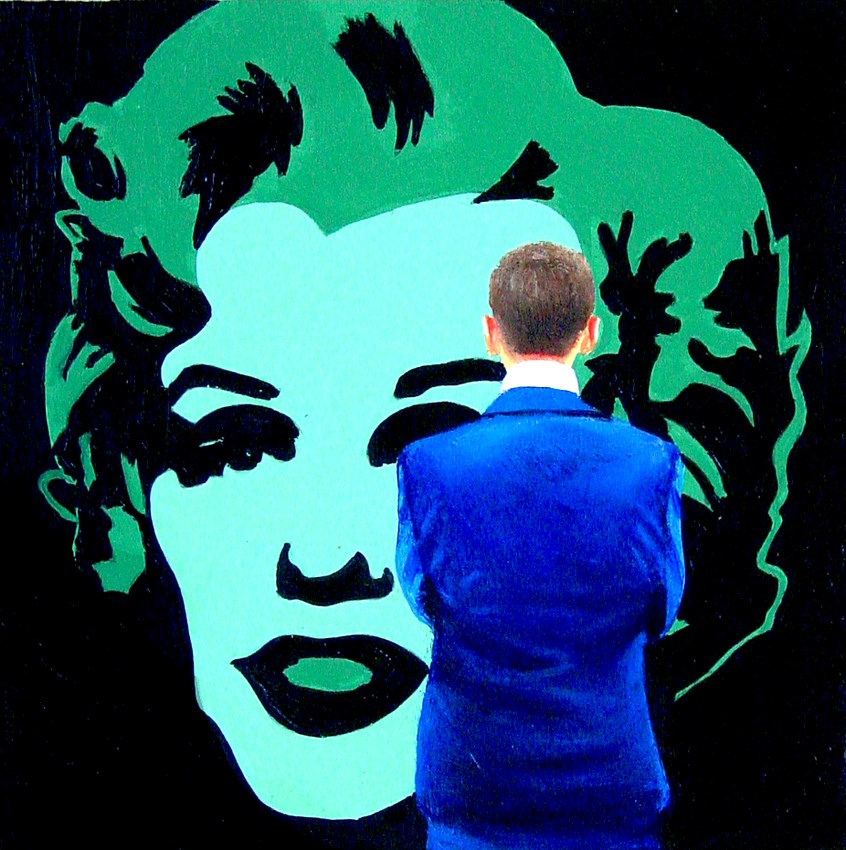 """Green Marilyn- Painting Of Man Enjoying Painting Of Marliny Monroe By Andy Warhol"" original fine art by Gerard Boersma"