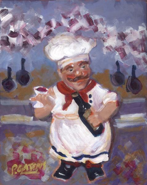 """Chef Winey"" original fine art by Pamela Gatens"