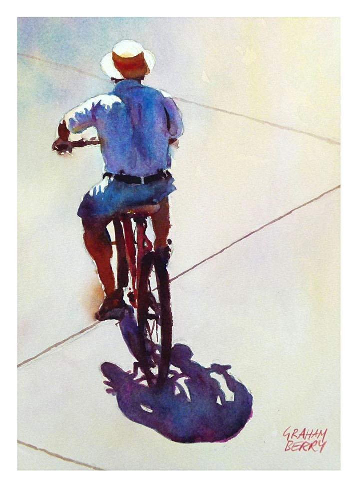 """""""Cycling in the sun."""" original fine art by Graham Berry"""