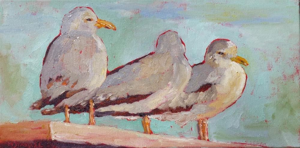 """Seagulls Resting 14044"" original fine art by Nancy Standlee"