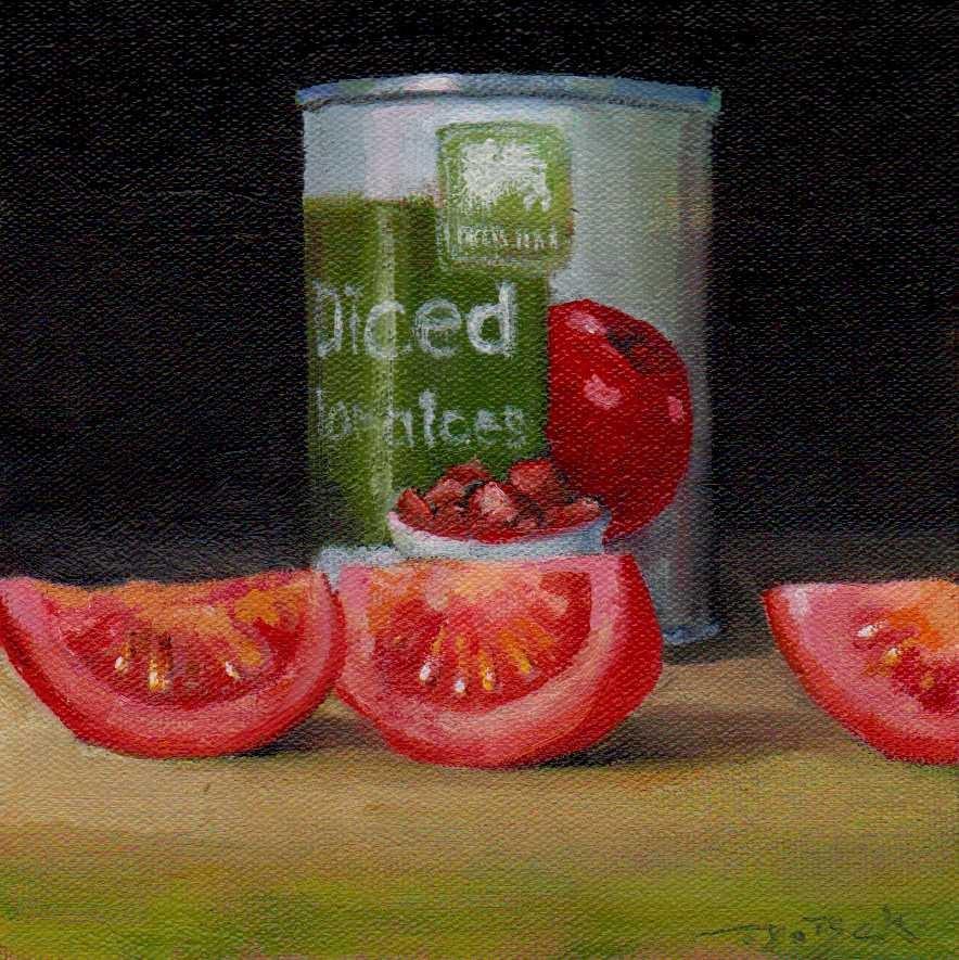 """diced tomatoes"" original fine art by Mark DeBak"