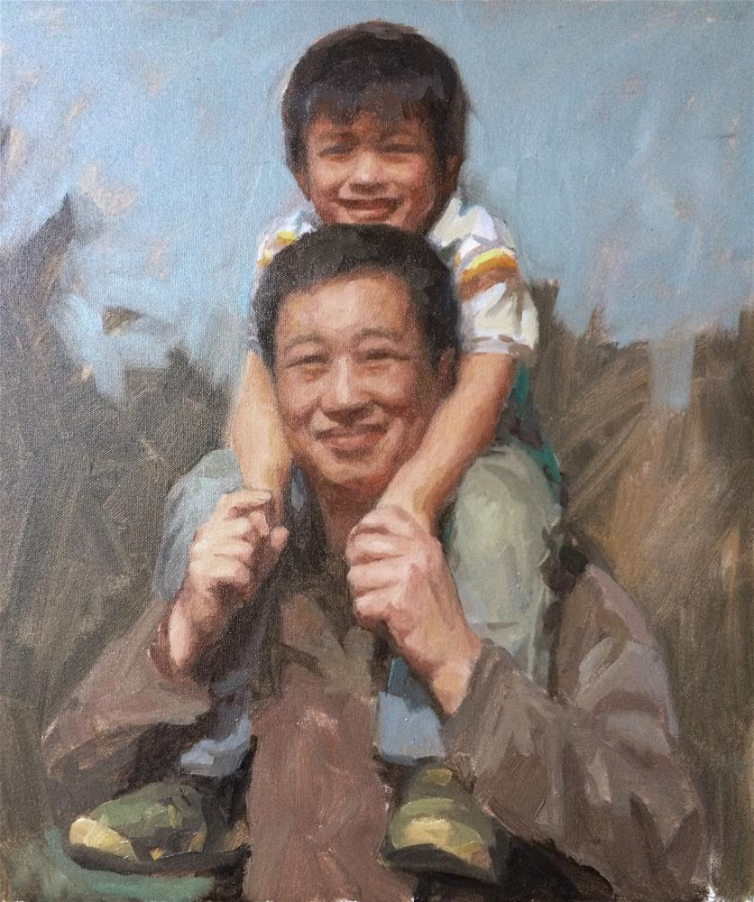 """my son"" original fine art by Yuehua He"