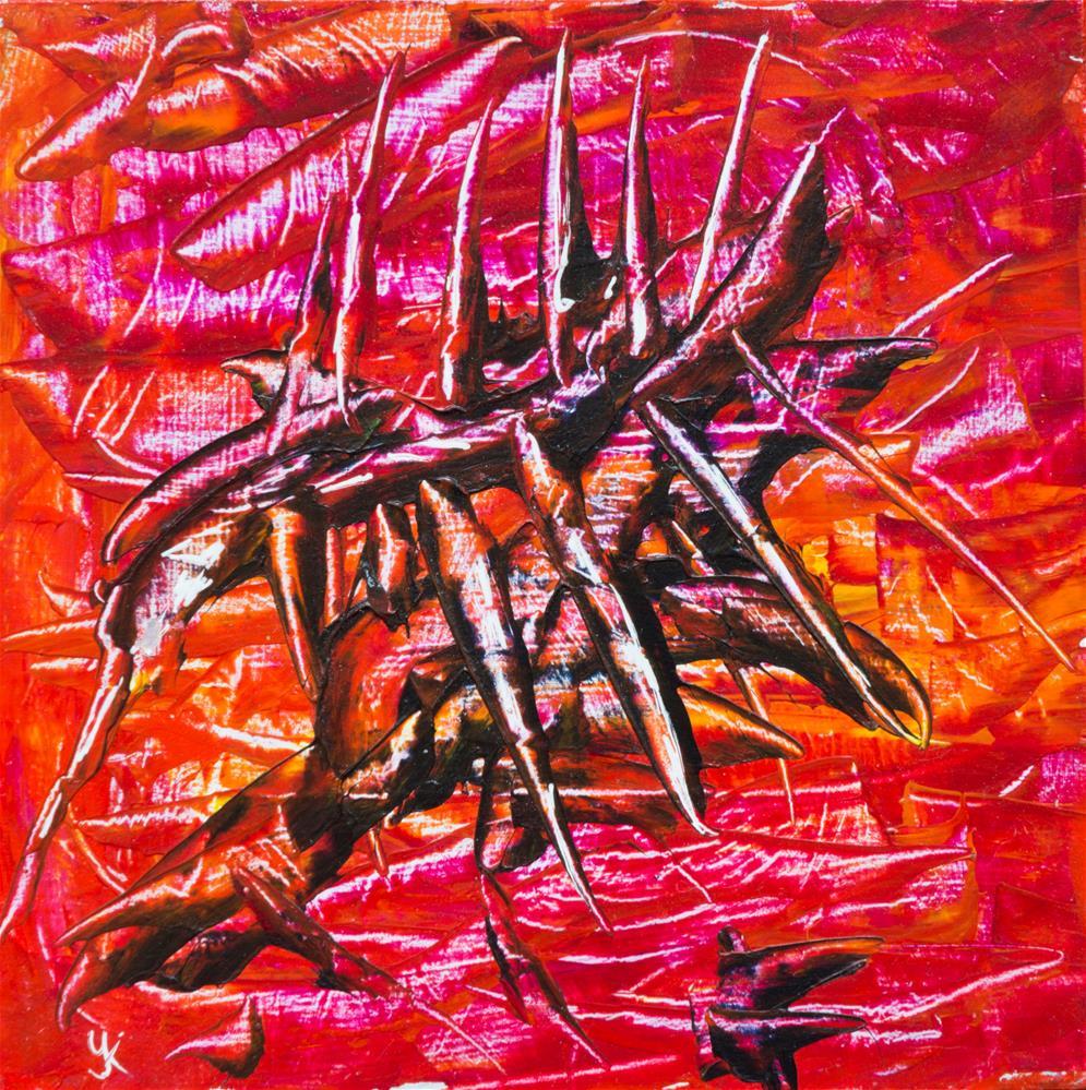 """Spikes on Red"" original fine art by Yulia Kazansky"