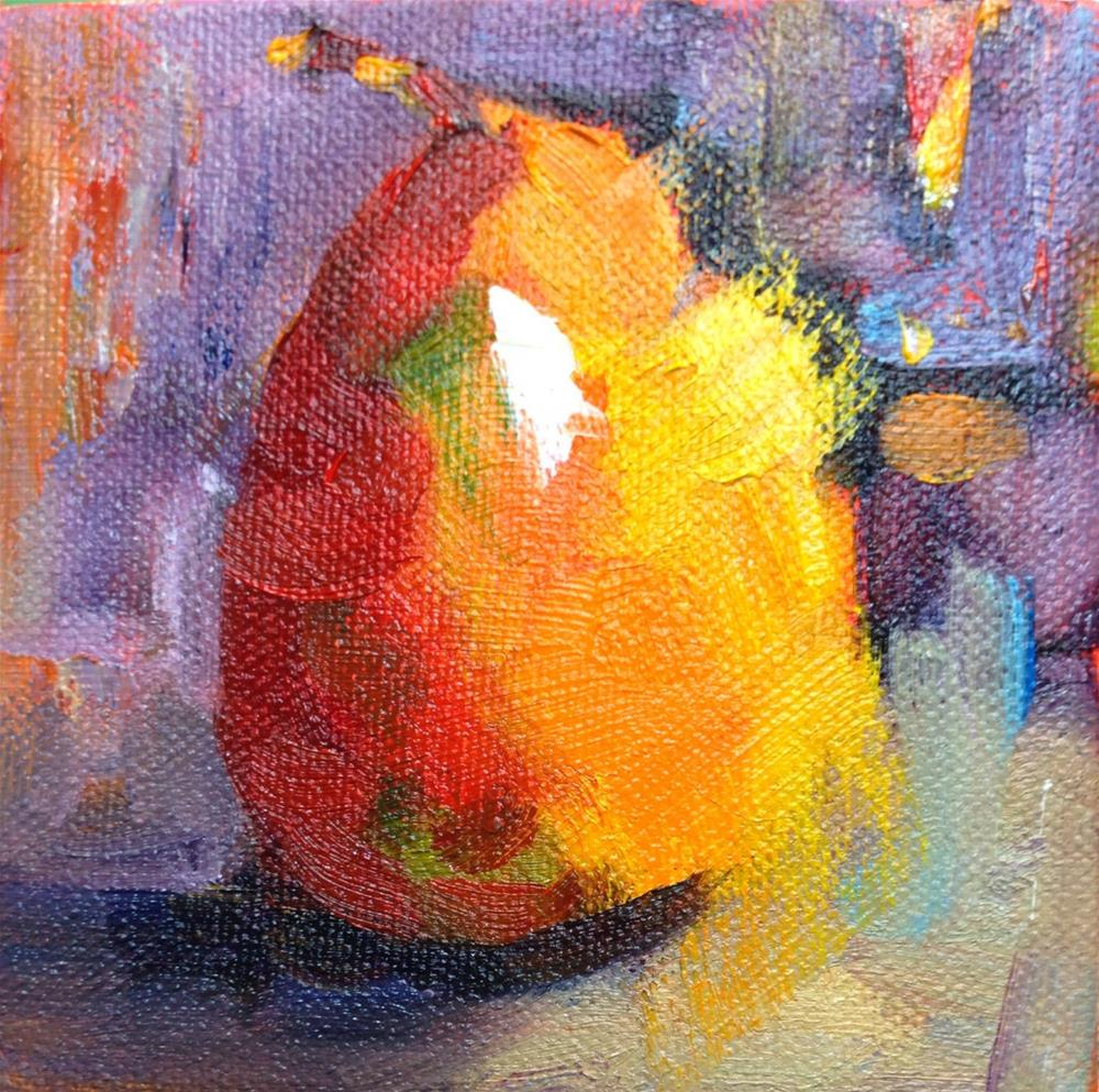 """Pear Alone"" original fine art by Peggy Schumm"