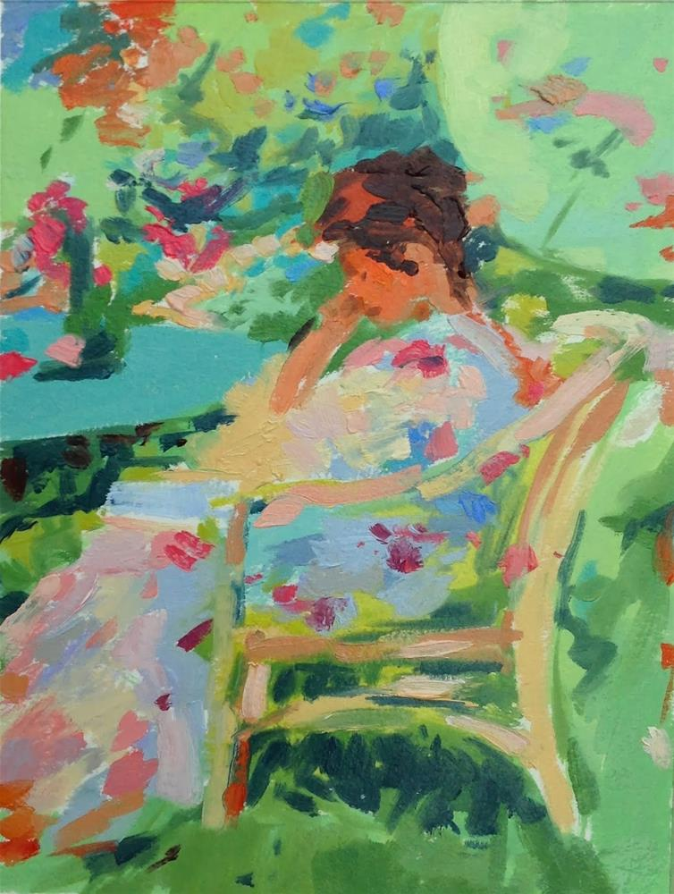 """""""Reading in the garden after Miller"""" original fine art by Haidee-Jo Summers ROI"""