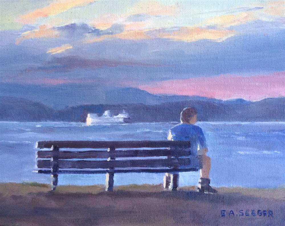 """""""The Skater Rests"""" original fine art by Elisabeth Seeger"""