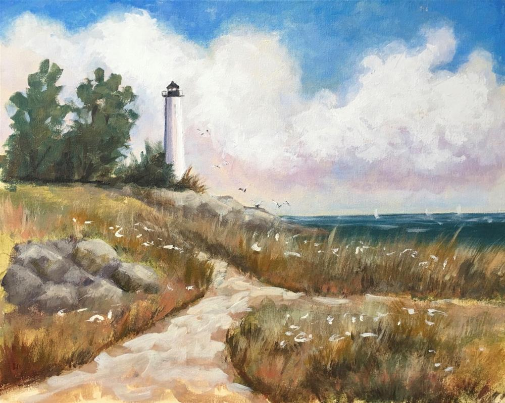 """Path to Lighthouse Point, New Haven, CT"" original fine art by Linda Marino"