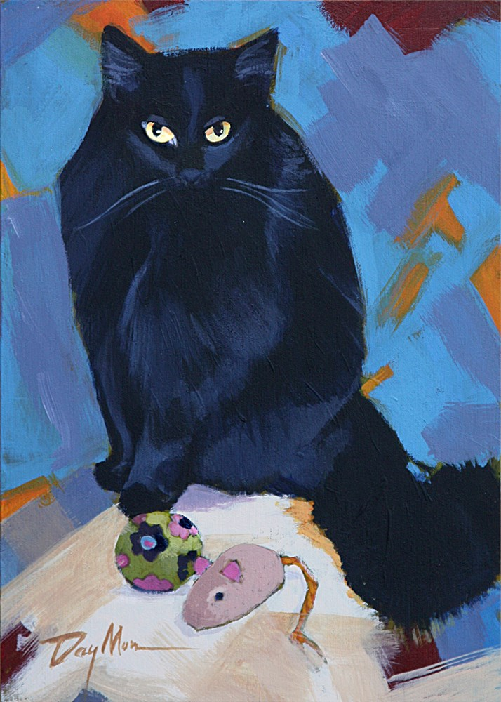 """""""Kitty with Two Toys"""" original fine art by Mike Daymon"""