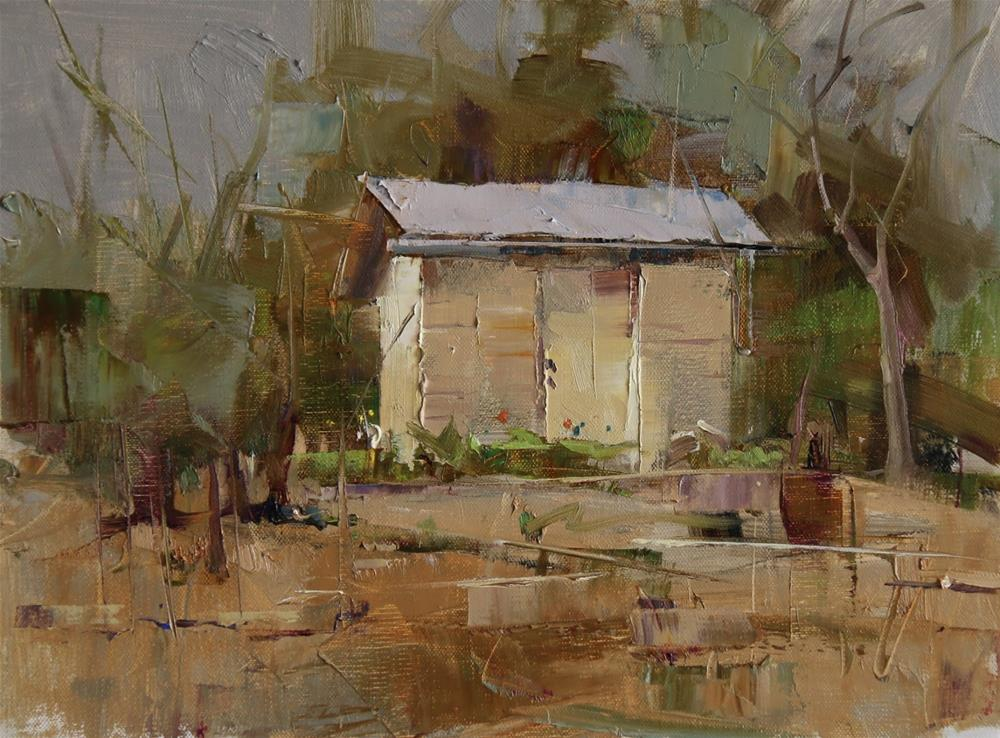 """Plein air at Anderson Mill"" original fine art by Qiang Huang"