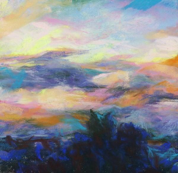 """""""DREAM AWAY - 6 x 6 pastel sunset by Susan Roden"""" original fine art by Susan Roden"""