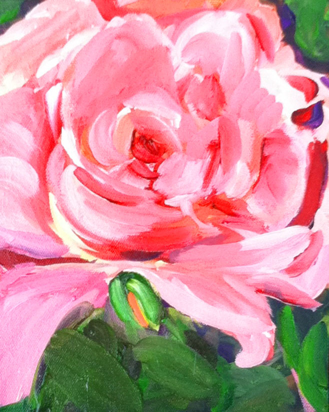 """The New Rose, acrylic, 8x10"" original fine art by Darlene Young"
