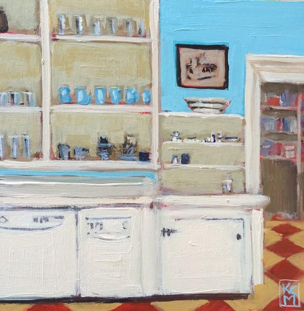 """Island Kitchen, 6x6 inch acrylic painting by Kelley MacDonald"" original fine art by Kelley MacDonald"