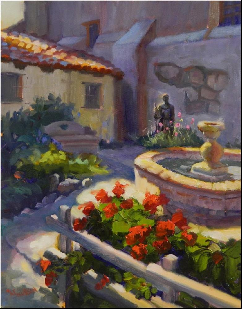 """Father Serra's Garden,11x14, oil on linen, Carmel Mission,  Mission San Carlos Borromeo de Carmelo"" original fine art by Maryanne Jacobsen"