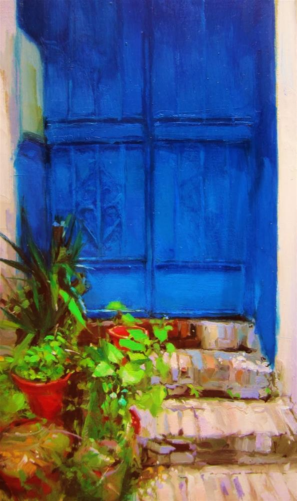"""Blue door"" original fine art by Víctor Tristante"