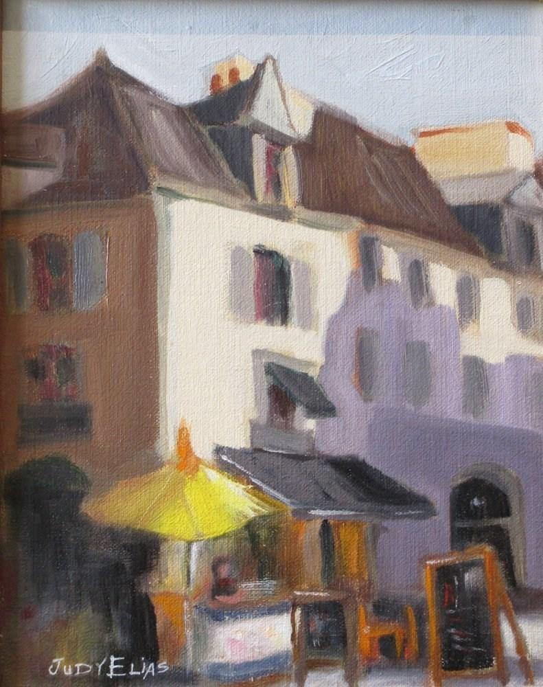 """A Street Corner in Quimper"" original fine art by Judy Elias"
