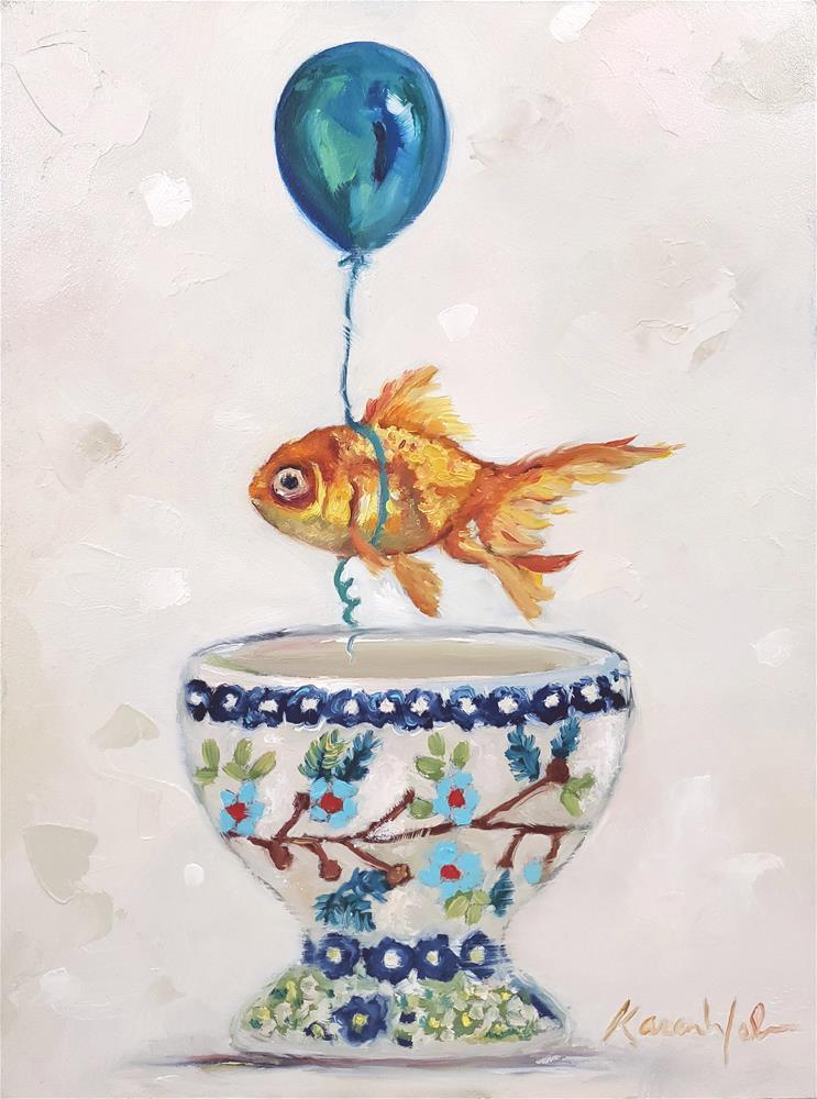 """""""Ballooning for Fish"""" original fine art by Karen Weber"""