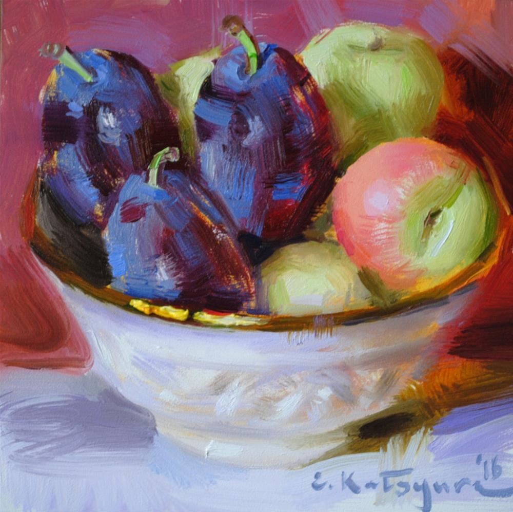 """Plums and Peaches"" original fine art by Elena Katsyura"