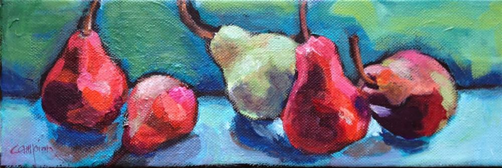 """182 Pears on a Ledge"" original fine art by Diane Campion"