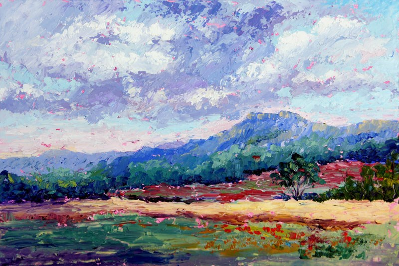"""""""Threatening Skies over Provence Palette knife painting"""" original fine art by Marion Hedger"""