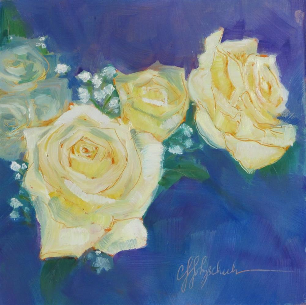 """White Roses II"" original fine art by Christine Holzschuh"