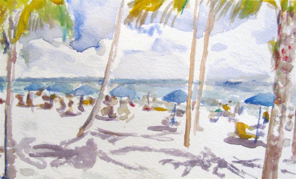 """""""Beach Umbrellas"""" original fine art by Susan Elizabeth Jones"""
