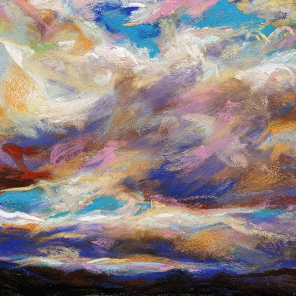 """""""SOLD- SHADES + LAYERS and ORANGE GLIMMER - pastel skyscapes by Susan Roden"""" original fine art by Susan Roden"""