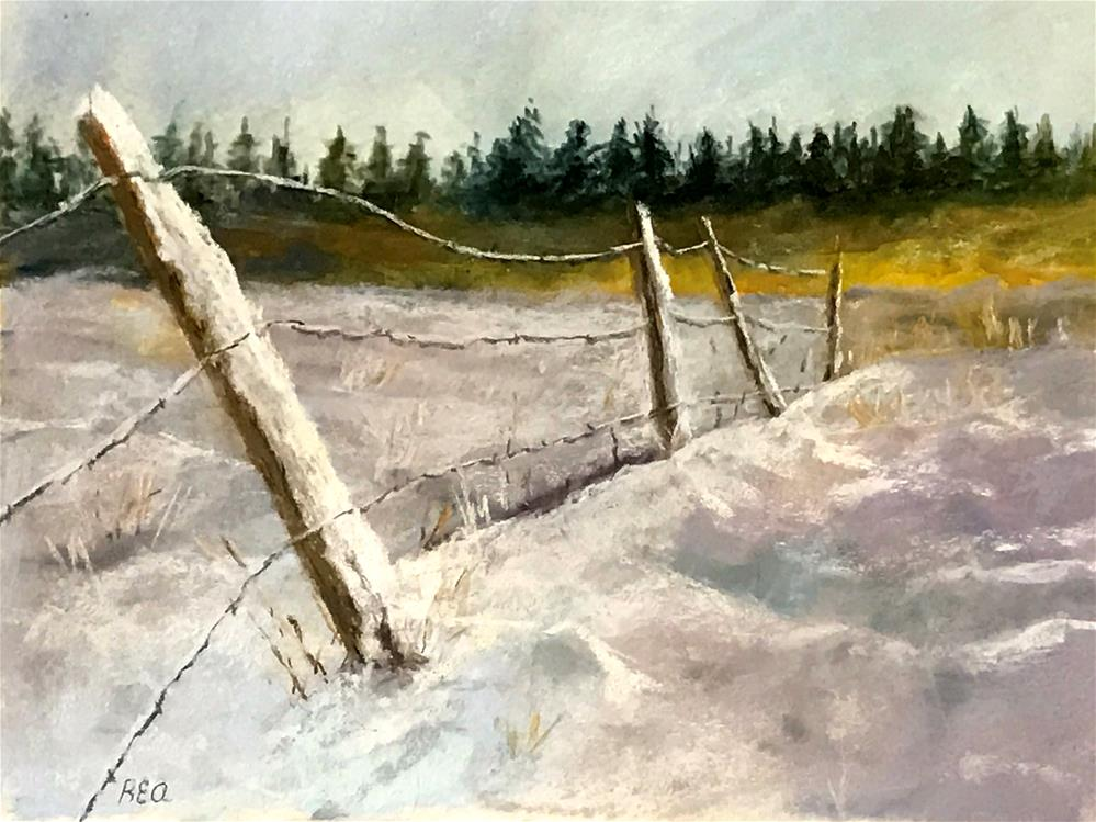 """fence falling down"" original fine art by Betty Argiros"