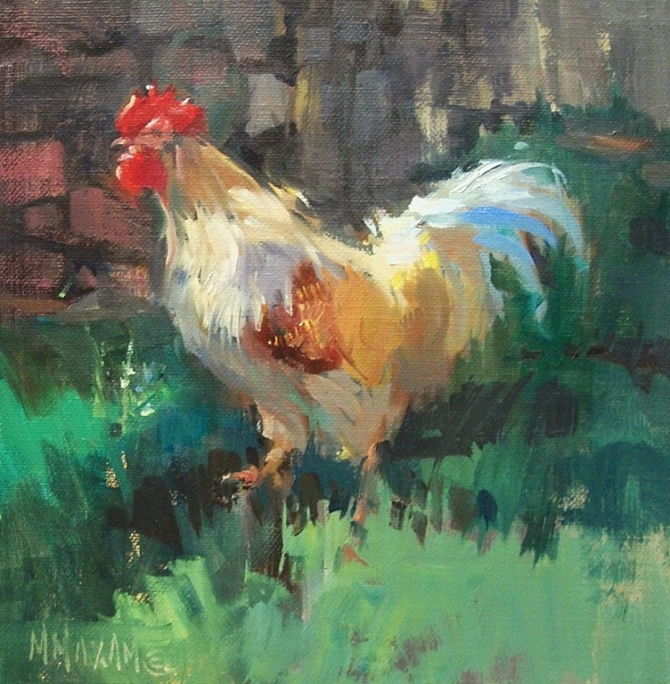 """""""Making The Rounds- a rooster in the farm yard"""" original fine art by Mary Maxam"""