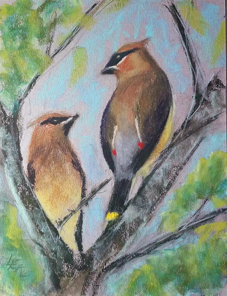 """""""Waxwing Duet"""" original fine art by Anna Lisa Leal"""