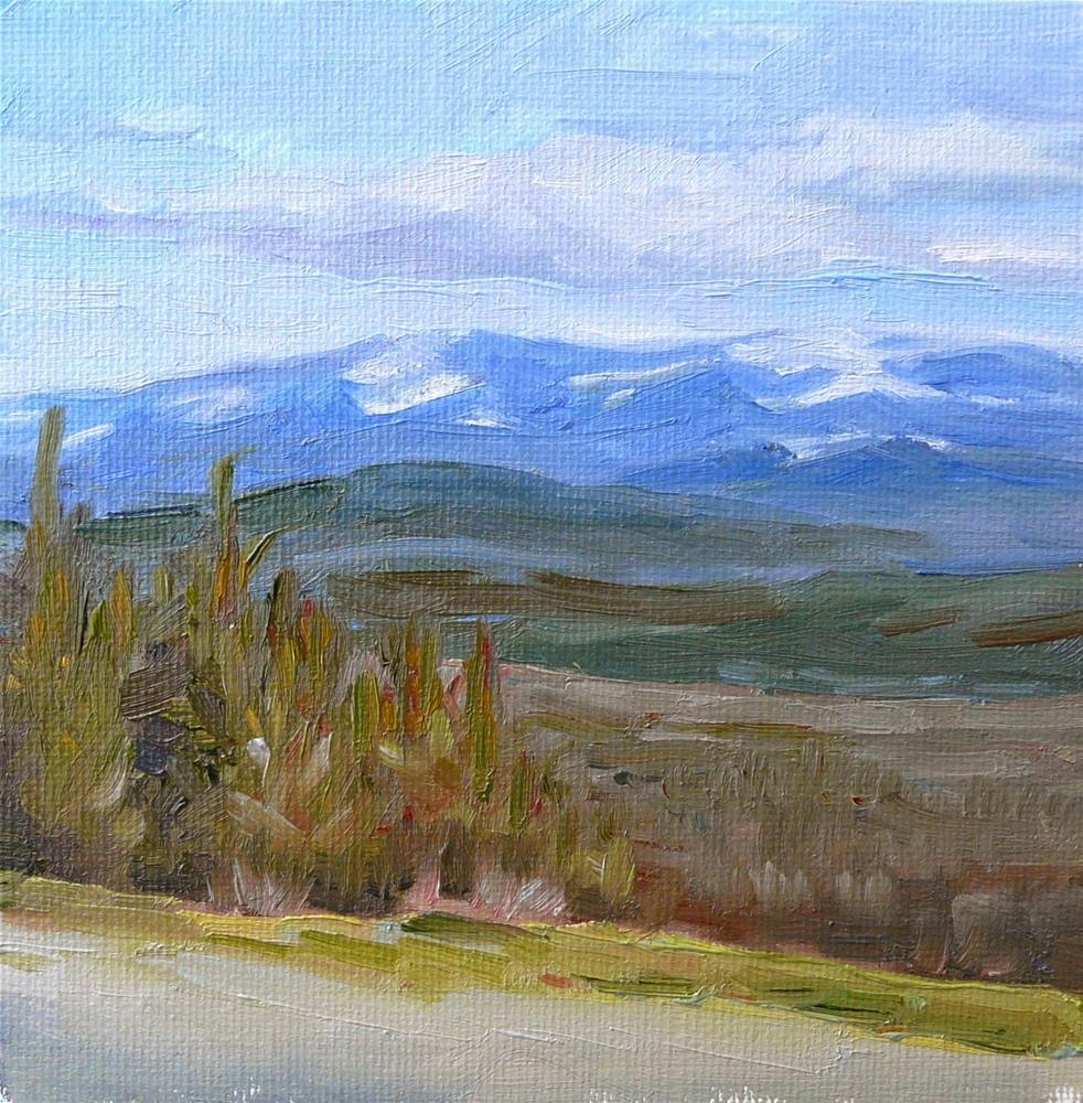 """High Mountain Trail,landscape,oil on canvas,6x6,price$200"" original fine art by Joy Olney"