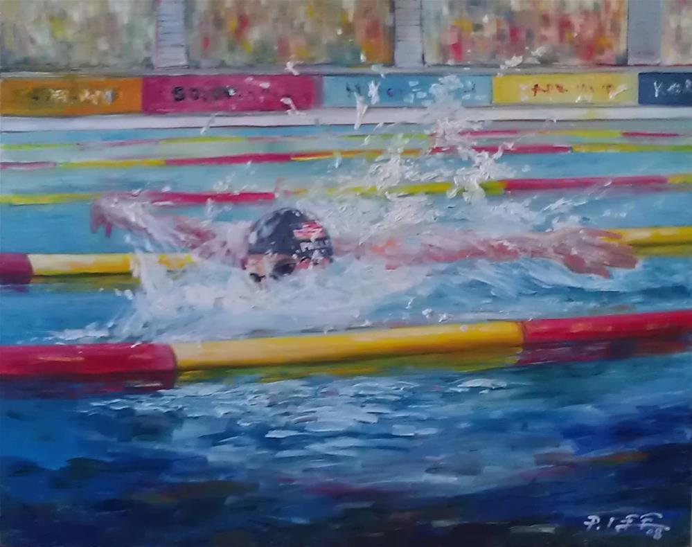 """The Swimmer"" original fine art by Peter Lee"